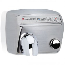 Sèche-mains Modèle A inox brossé bouton poussoir