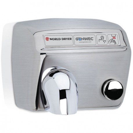 World Dryer Model A Push Button Hand Dryer Stainless steel, brushed
